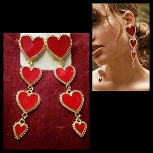 Jewelry - ❤NWT HEART RED ENAMEL DANGLE EARRINGS